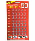 NEW 50 ASSORTED BUTTON CELL WATCH BATTERIES AG 1 / 3 / 4 / 10 / 12 / 13 SEALED