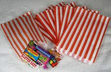 "100 Red & White Stripe Paper Sweet Bags  Wedding 5"" X 7"" Pick 'n' Mix Bags"