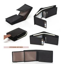 New Men's Trifold Cowhide Genuine Leather Bifold Wallet Credit Card Holder Purse