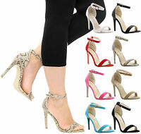 Ladies Womens High Stiletto Heel Peep Toe Ankle Strappy Party Sandals Shoes Size