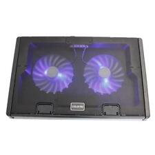 "2 Fans 12-17"" Laptop PC USB Cooler Cooling Pad Stand LED Radiator Portable HK"