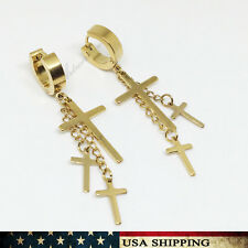 Men Womens Gold Stainless Steel Dangle Cross Ear Stud Hoop Huggies Earring Punk