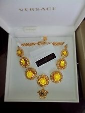 Authentic  Gianni Versace Baroque Line  Medusa Gold Plated Crystal necklace