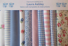 LAURA ASHLEY FABRIC ROSE/BLUE PATCHWORK COT QUILT or CUSHIONS KIT+ INSTRUCTIONS