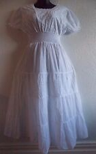 Maxi Dress Fits  XL 1X Plus Long White Cotton Eyelet Lace Empire Sundress B56