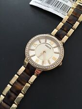 Fossil ES3314 Virginia Gold Tortoise Two-Towne Silver Dial Crystal Watch NWT