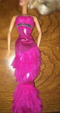 Barbie Fuchsia Pink Ruffled Halter Mermaid Sparkle Silver Belt Gown Dress Outfit