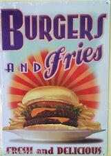 BURGERS AND FRIES Metal sign Fresh and delicious hamburgers french fries food