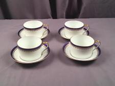 VintG Haviland Limoges Richelieu Pattern Four Cups Saucers Cobalt & Fleur De Lis