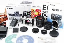 Exc+ Canon EOS M 18MP Silver Digital Camera 18-55mm & 22mm Lens w/ M. Adapter