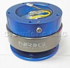 NRG 5 Hole Steering Wheel Quick Release Kit - Blue with Titanium Ring - Gen 2.0