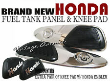 HONDA SS50 FUEL GAS TANK SIDE CHROME PANEL COVER + KNEE PAD RUBBER [V]