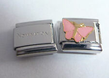 PINK BUTTERFLY 9mm Italian Charm + 1x Genuine Nomination Classic GLITTER WINGS