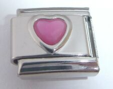 PINK HEART Italian Charm 9mm June Birthstone fits Classic Braceletrs I Love You