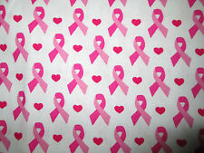 BREAST CANCER RIBBONS SMALL HEARTS COTTON FABRIC FQ