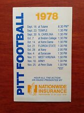 CFB 1978 PITTSBURGH PITT PANTHERS Football Schedule College FB NATIONWIDE