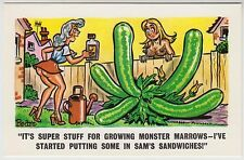 SAUCY POSTCARD - seaside comic, sexy women garden monster marrows, PEDRO #217