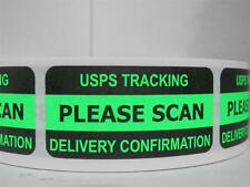 PLEASE SCAN USPS TRACKING DELIVERY CONFIRMATION Sticker Label green fluor 500/rl