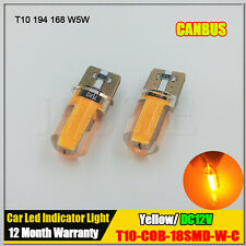 2X Amber COB LED Silicone T10 W5W 194 168 Canbus Error Free Light Car Bulb Lamp