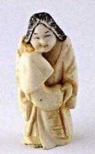 Antique Japanese Erotic Shunga Netsuke Okame holding Huge Mushroom
