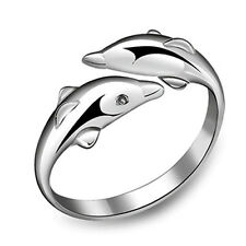 Lovely Double Dolphin Adjustable Ring Fashion Women Silver Lucky Love Jewelry