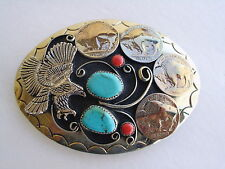 BELT BUCKLE EAGLE 2-TURQUOISE,2-CORAL, 4 BUFFALO NICKLES G-26 SOUTHWEST NOS