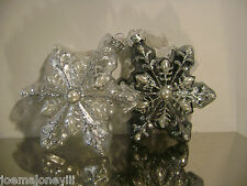 GLUCKSTEIN  BLUE & CLEAR ICE PALACE GLASS SNOWFLAKE ORNAMENT SET 2
