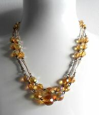Vintage 50/60s Citrine Irridescent Glass Faceted Cut Double Strand Necklace