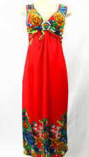 New Women Tropical Colorful Long Summer Dress Super Energetic Hangout Sundress