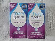 2 NEW THERA TEARS DRY EYE THERAPY LUBRICANT EYE DROPS MULTI-USE BOTTLES