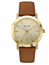 Bulova Unisex 97B135 Champagne Stainless Steel Watch with Brown Leather Band