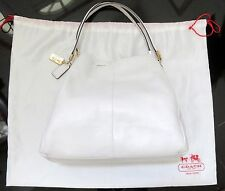 COACH WHITE PEBBLE LEATHER MADISON PHOEBE SHOULDER BAG HANDBAG GOLD TRIM DUSTBAG