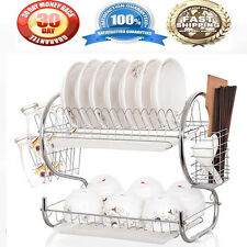 Kitchen organization holder 2 Tier Stainless Steel Dish Drainer Drying Rack US H
