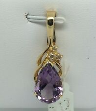 14k Solid Yellow Gold Pear Shape Natural Purple Amethyst Pendant