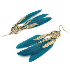 New 1Pair Blue Feather Leaf Earring Vintage Long Pendant Earrings Dream Catcher