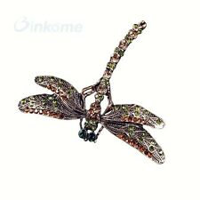 Vintage Dragonfly Colorful Crystal Rhinestone Scarf Pins Brooches For Women Love