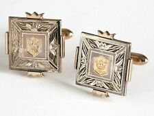 Vtg SWANK GOLD CROWN ROYAL Engraved Silver Gold Tone Cuff Links