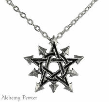 Alchemy Gothic Chaosagram Pendant - Pentagram & Chaosphere Symbol of Chaos