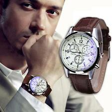 New Men's Date Leather Stainless Steel Military Sports Quartz Wrist Watch White