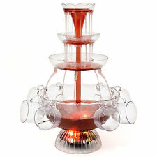 Illuminated Waterfall Cocktail Fountain Party A Punch Juice Wine Drink + 8 Cups