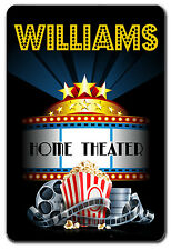 PERSONALIZED HOME THEATER METAL SIGN