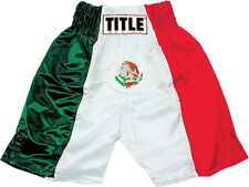 NEW TITLE Boxing Trunks LARGE Mexico Mexican Flag Shorts MMA Muay Thai