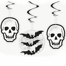 3 Haunted Halloween Gothic Skulls Bats Party Hanging Swirls Decorations