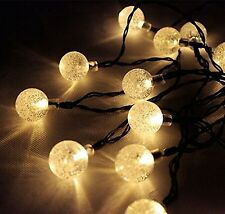 SOLAR Garden LIGHTS STRING FAIRY 30 Warm White LED Crystal Globe WEATHERPROOF