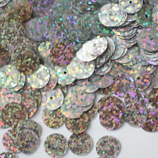 10mm Flat SEQUIN PAILLETTES ~ SILVER Laser MULTI  HOLOGRAM ~ Made in USA.