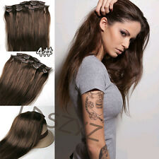 """Full Head Set 14""""-30"""" Clip in Remy Human Hair Extensions Any Black Blonde Brown"""
