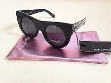 MinkPink Sunglasses New Authentic Double Cross Round Cat Eye Black With Leopard