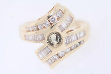 14k Yellow Gold .90ct Round & Baguette Diamond Semi-Mount Ring (I, SI1) Size 6
