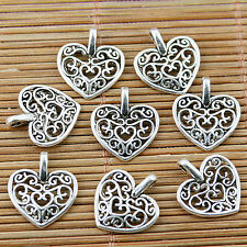 30pcs tibetan silver tone 2sided hollow floral heart charms EF1783