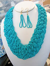TURQUOISE MULTI STRAND GLASS SEED BEAD BRAIDED NECKLACE EARRING